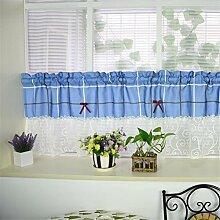 BKFF® Küche Vorhang Kaffee Vorhang Polyester Staub-Beweis gefaltet Plaid Muster Dekoration für Küche 1 PCS , tile width 90 cm, 45 cm high