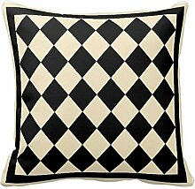 Black and Cream Diamond Design Pillowcase Covers Decorative for Sofa 18x18 Inch Two Sides