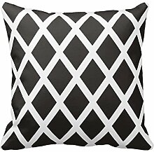Black and White Diamond Design Pillowcase Covers Decorative for Sofa 18x18 Inch Two Sides
