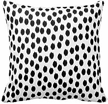 Black and White Dots Design Pillow Throw Pillow Case Print Square 18X18 Inch