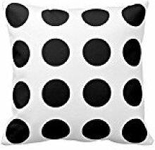 Black and White Polka Dot Pillow Square Decorative Cushion Cover