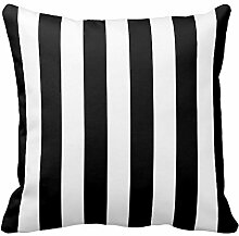 Black and White Striped Pillow Throw Pillow Case Print Square 18X18 Inch
