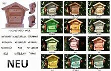 BLACK Briefkasten, Holzbriefkasten mit Holz - Deko