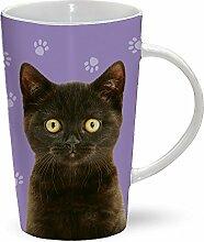 Black Cat - schwarze Katze - Mug - Becher - Latte