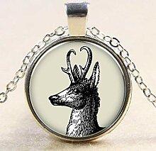 Black Elk Time Edelstein Glas Anhänger Halskette