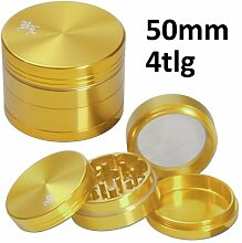 Black Leaf Alugrinder 50mm 4teilig gold Magnetverschluss inkl. Blechdose Grinder