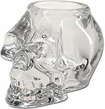 Black Leaf Totenkopf Kerzenhalter Glas