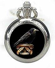 Black Raven Taschenuhr Schmuck Krähenanhänger