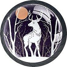 Black Snow Deer Under MoonKabinett Knöpfe