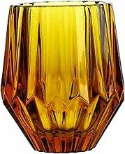 Black Temptation Altmodische geprägte Weinglas Saft Glas Wasser Glas Tasse gelb
