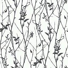 Black & White 6060 Vlies-Tapete Astwerk schwarz auf weiß
