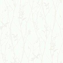 Black & White 6063 Vlies-Tapete Astwerk Silber glänzend auf weiß