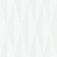 Black & White 6082 Vlies-Tapete retro Rhombenmotiv hellgrau und weißgrau