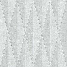 Black & White 6083 Vlies-Tapete retro Rhombenmotiv hellgrau und grau