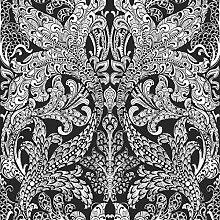 Black & White 6089 Vlies-Tapete orientalisches Rankenornament weiß auf schwarz
