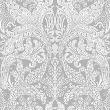 Black & White 6090 Vlies-Tapete orientalisches Rankenornament weiß auf grau