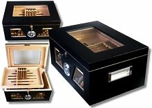 Black Wonderful Kristallglas Humidor V-1320 + Firelighter
