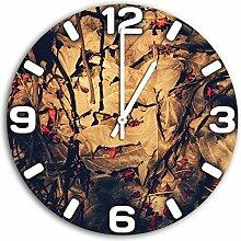 Blätter, Design Wanduhr aus Alu Dibond zum Aufhängen, 30 cm Durchmesser, schmale Zeiger, schöne und moderne Wand Dekoration, mit qualitativem Quartz Uhrwerk