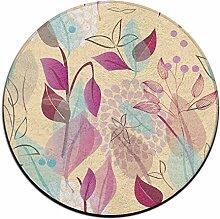 Blätter Kreis Shaggy Teppich Runde Form für Schlafzimmer Wohnzimmer Teppich/Fußmatte/Anti-Rutsch