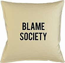 Blame Society Kissenbezug Haus Sofa Bett Dekor Beige