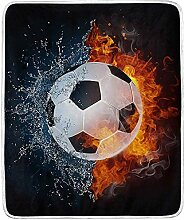 Blanke Soccer Ball In Fire and Water Throw Blanket