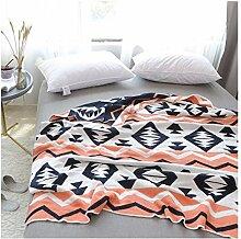 Blanket Geometrische Wolldecke, Gestrickte Orange