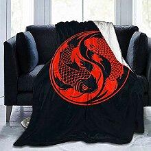 Blanket Rot Und Schwarz Yin Yang Koi Fisch Hotel