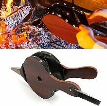 Blasebalg aus Holz mit gusseiserner Tülle und Lederband zum Aufhängen, ideal für Kamin, Camping, Grill