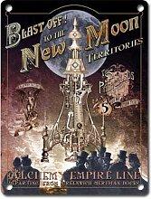 BLAST OFF auf die New Moon. Steam Punk Alchemy Rose. Gothic. Rocket To Platz. Für Haus, Zuhause, Schlafzimmer, Bar oder Kneipe. Metall/Stahl Wandschild, stahl, 20 x 30 cm