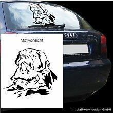 blattwerk-design KFZ Aufkleber Tiermotive- Hund-Bernhardiner M070 Schwarz