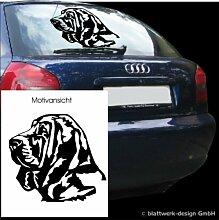 blattwerk-design KFZ Aufkleber Tiermotive- Hundekopf-Bloodhound M090 Silber