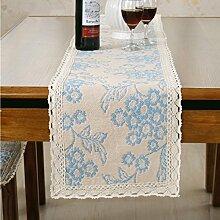 Blau Blume Weiß Spitze Tischläufer mit