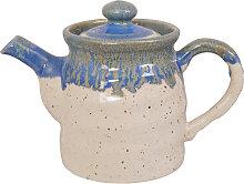 Blau / Braun Handgemachte Teekanne mit