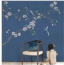 Blau chinesische vögel blume tapete wald für