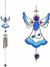 Blau Engel Windspiel Metall, Glas und Kunstharz Design Garten Ornamen