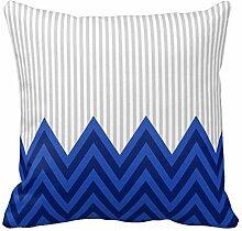 Blau Grau Streifen Zigzag Sofa Couch Kissenbezug Dekorative, Color1, 20x20 inch