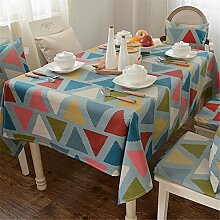 blau Grün rot Dreieck Tischdecken Baumwolle leinen Modern minimalistisch Esstisch Rezeption rechteckigen Square nicht bügeln umweltfreundlich garten Tischtuch