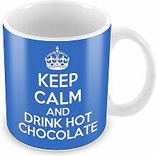 Blau Keep Calm and Drink Hot Chocolate Becher Kaffee Tasse Geschenkidee Geschenk