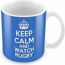 Blau Keep Calm and Watch Rugby Becher Kaffee Tasse Geschenkidee Geschenk Spor