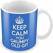 Blau Keep Calm You Grumpy Old Git Becher Kaffee Tasse Geschenkidee Geschenk