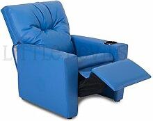 Blau Kinder Kinder, die Liege Sessel/Stuhl/Sofa/Seat * mit optional Aufbewahrungsbox * in PU-Leder Look blau