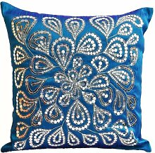 Blau Kissen mit Silber sequins- Dazzling Kissen, handgefertigtes Kissen, bestickt Kissen, Pailletten Kissen, Blau Kissen, Sofa Kissen, Blau Kissen mit Pailletten und Perlen detailliertes, Blumenmuster, Seide, blau, 60 x 60 cm