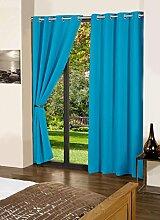 blau lushomes Öse solide Luxus Vorhänge blackout normale Tür / Fenster drapers - Satz von 2 Stück