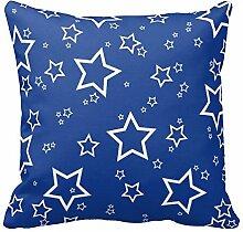 Blau mit weißen Sternen Muster, Modern Kissenbezüge Sofa Couch Stuhl, Color1, 40,6 x 40,6 cm (16 x 16 Zoll)