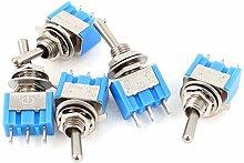 Blau ON-ON 2 Position 3 Pins SPDT AC 125V 6A 5pcs