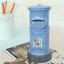Blau Postal Ersparnisse Zylinder Kunststoff Schweinchen Bank Geld Topf übergroße Schmuck kreativ Geburtstag Geschenk zu senden Männer und Frauen niedlich Münze blau