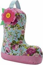 Blau/Rosa gestreiftes & Floral Printed Zimmer Wellie Boot-Türstopper