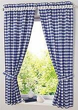 Blau Schlaufenschal Vorhaenge mit Oesen Gardine Deko-Vorhang Fenster-Vorhang Oesenvorhang B*H 80*120cm 2er Se
