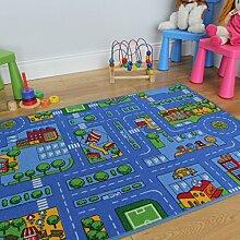 Blau Spielen Ortschaft Straßen Kinder-Spielzimmer Spielteppich – Verfügbar in 3 Größen