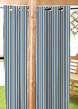 """blau / Stein Streifen wasserfest Garten Öse Vorhang Panel 55 """" X120"""